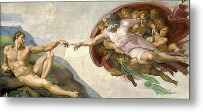 Creation Of Adam - Painted By Michelangelo Metal Print by War Is Hell Store