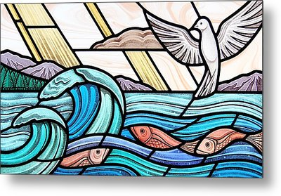 Metal Print featuring the glass art Creation Of The Sea And Sky by Gilroy Stained Glass