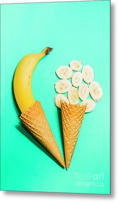 Creative Banana Ice-cream Still Life Art Metal Print