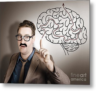 Creative Man Thinking Up Brain Illustration Idea Metal Print