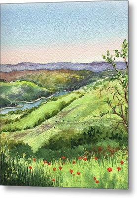 Metal Print featuring the painting Creek In The Hills Watercolor Landscape  by Irina Sztukowski