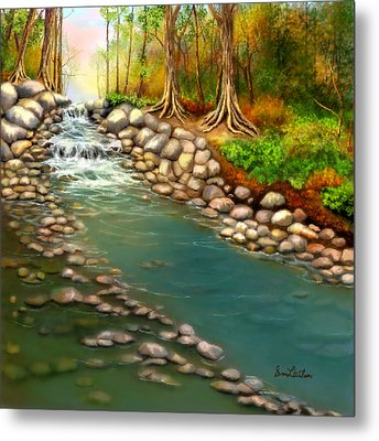 Metal Print featuring the painting Creek In The Spring by Sena Wilson