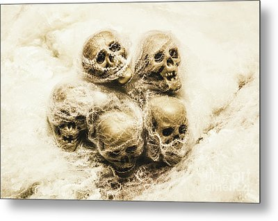 Creepy Skulls Covered In Spiderwebs Metal Print