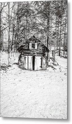 Creepy Winter Cabin In The Woods Metal Print by Edward Fielding