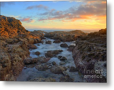Metal Print featuring the photograph Crescent Bay Tide Pools At Sunset by Eddie Yerkish