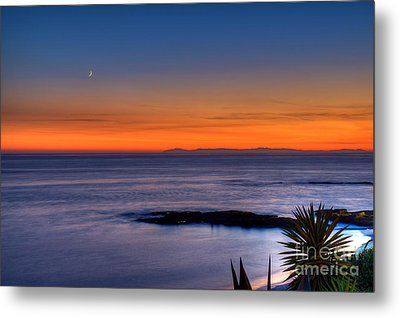 Crescent Moon At Sunset Metal Print by Eddie Yerkish