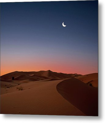 Crescent Moon Over Dunes Metal Print