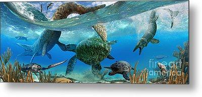 Cretaceous Marine Scene Metal Print