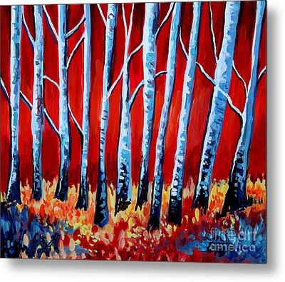 Crimson Birch Trees Metal Print by Elizabeth Robinette Tyndall