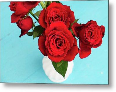 Crimson Roses Metal Print by Happy Home Artistry