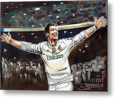 Cristiano Ronaldo Of Real Madrid Metal Print by Dave Olsen