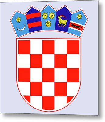 Metal Print featuring the drawing Croatia Coat Of Arms by Movie Poster Prints
