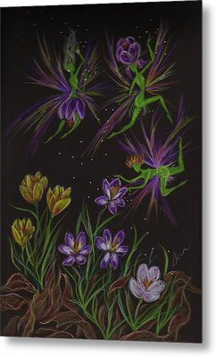 Metal Print featuring the drawing Crocus by Dawn Fairies