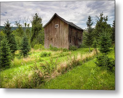 Crooked Old Barn On South 21 - Finger Lakes New York State Metal Print by Gary Heller