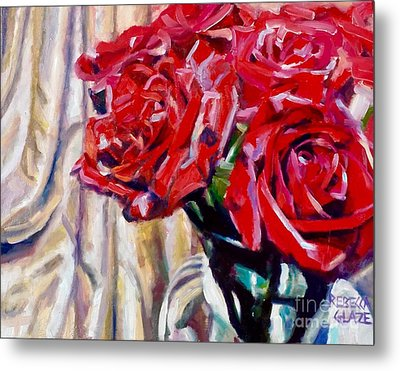 Metal Print featuring the painting Crimson  Petals by Rebecca Glaze