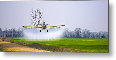 Precision Flying - Crop Dusting 1 Of 2 Metal Print by Charlie Brock