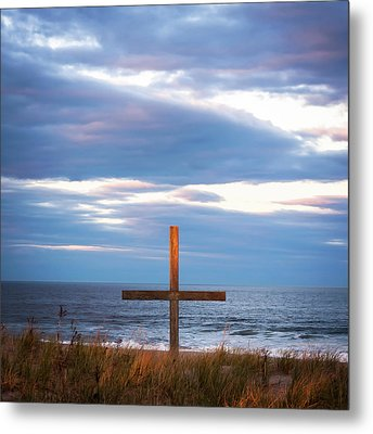 Cross Light Square Metal Print by Terry DeLuco