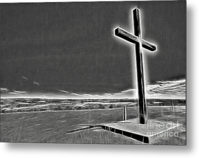 Metal Print featuring the photograph Cross On The Hill V2 by Douglas Barnard