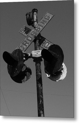 Crossing In Black And White Metal Print