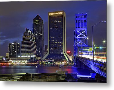 Crossing The Main Street Bridge - Jacksonville - Florida - Cityscape Metal Print by Jason Politte