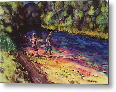 Crossing The Stream Metal Print