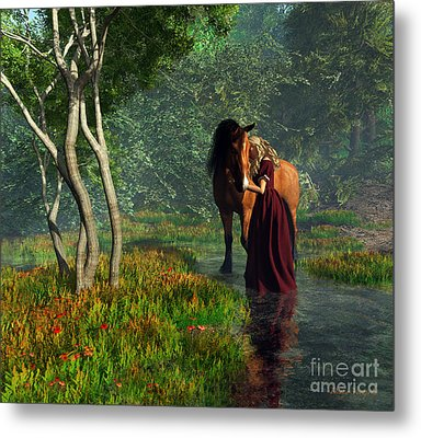 Crossing The Stream With Her Horse Metal Print