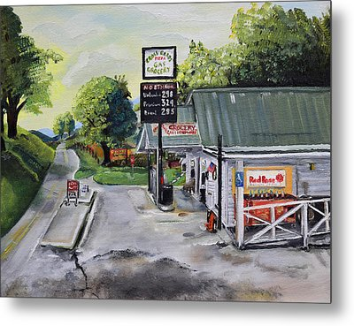 Metal Print featuring the painting Crossroads Grocery - Elijay, Ga - Old Gas And Grocery Store by Jan Dappen