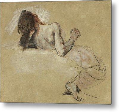 Crouching Woman Metal Print by Ferdinand Victor Eugene Delacroix