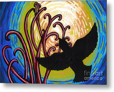 Crow And Full Moon In Winter Metal Print by Genevieve Esson