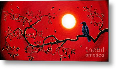 Crow In Crimson Sunset Metal Print by Laura Iverson