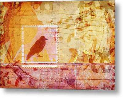 Crow In Orange And Pink Metal Print