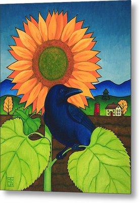Crow In The Garden Metal Print