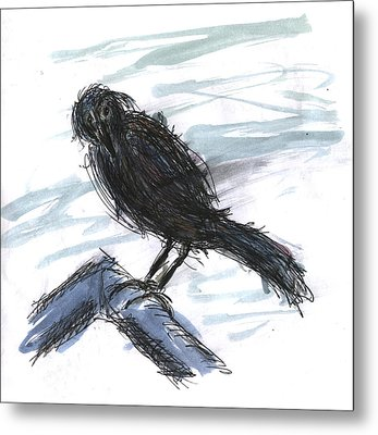 Crow In The Wind Metal Print by Kevin Callahan