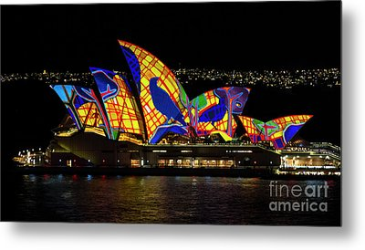 Crow Sails - Sydney Opera House - Vivid Sydney Metal Print