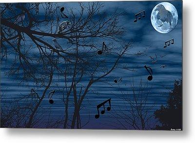 Crow Sings At Midnight Metal Print