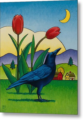 Crow With Red Tulips Metal Print