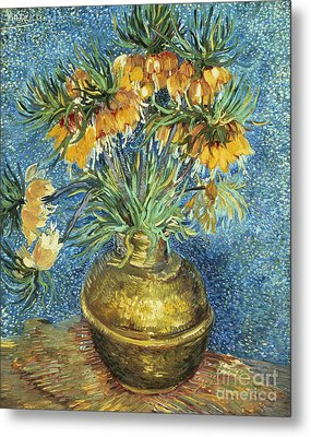 Crown Imperial Fritillaries In A Copper Vase Metal Print
