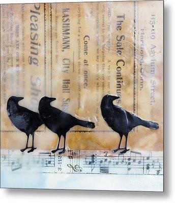 Crows Encaustic Mixed Media Metal Print