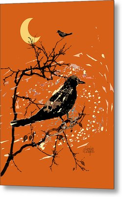 Crows On All Hallows Eve Metal Print by Arline Wagner