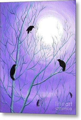 Crows On Empty Branches Metal Print by Laura Iverson