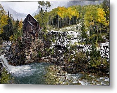 Crstal Mill And Fall Aspens Metal Print by Dean Hueber