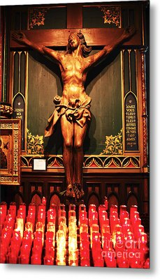 Crucifix At Notre Dame Metal Print by John Rizzuto