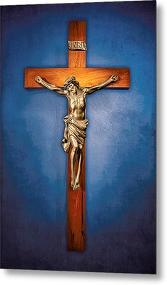 Crucifix On Blue Metal Print by YoPedro