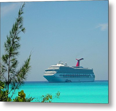 Cruise Ship At Half Moon Cay Metal Print by Gary Wonning