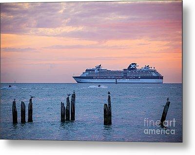 Cruise Ship At Key West Metal Print by Elena Elisseeva