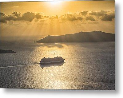 Cruise Ship In Greece Metal Print by Kathy Adams Clark