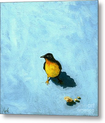 Crumbs -bird Painting Metal Print