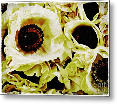 Metal Print featuring the photograph Crumpled White Poppies by Sarah Loft