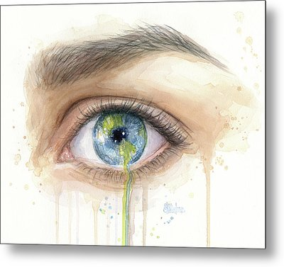 Crying Earth Eye Metal Print by Olga Shvartsur