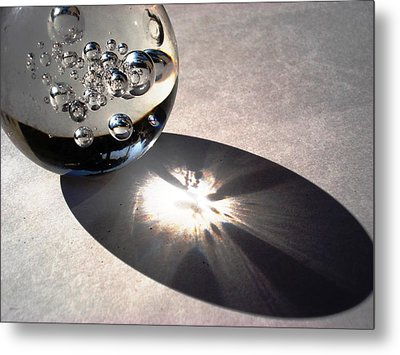 Crystal Ball With Trapped Air Bubbles Metal Print